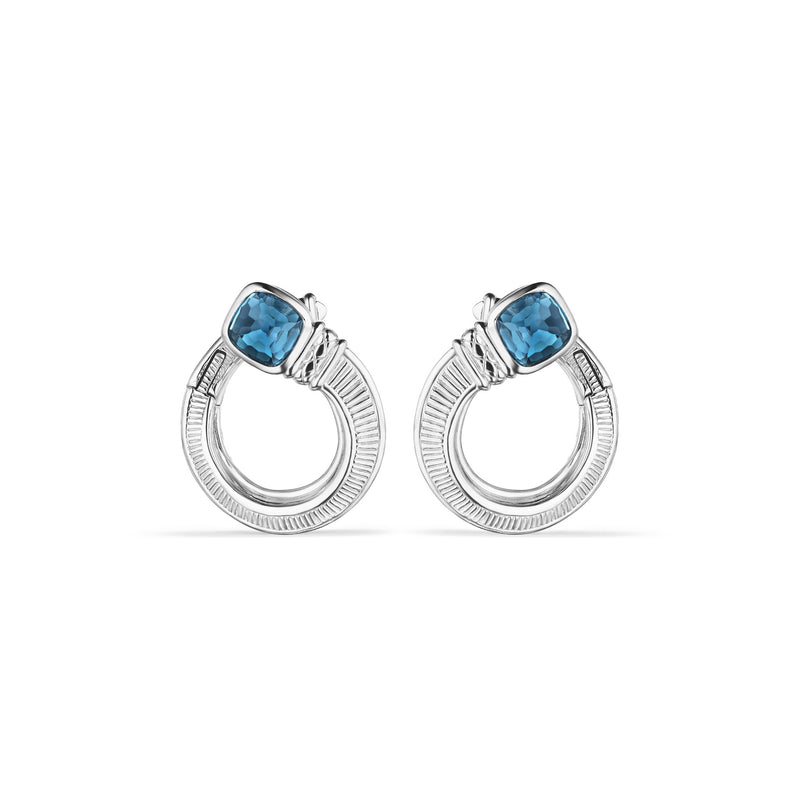 Cassandre Forward Facing Hoop Earrings with London Blue Topaz