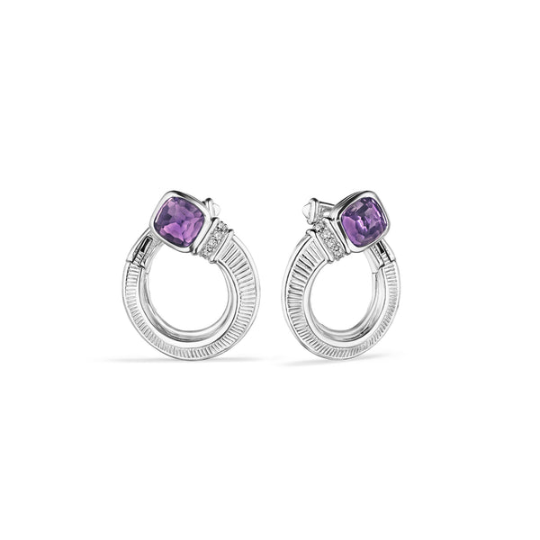 Cassandre Forward Facing Hoop Earrings with Amethyst and Diamonds