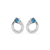 Cassandre Forward Facing Hoop Earrings with London Blue Topaz and Diamonds
