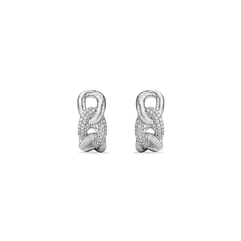 Eternity Open Link Hoop Earrings with Diamonds