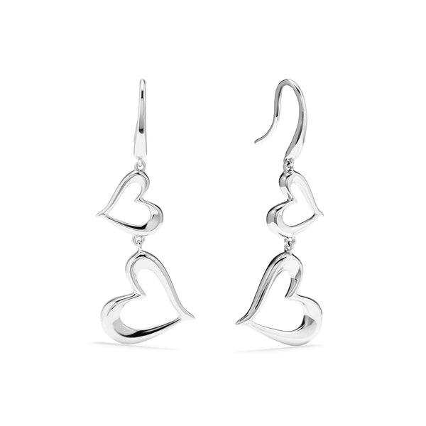 Eros Double Open Heart Drop Earrings