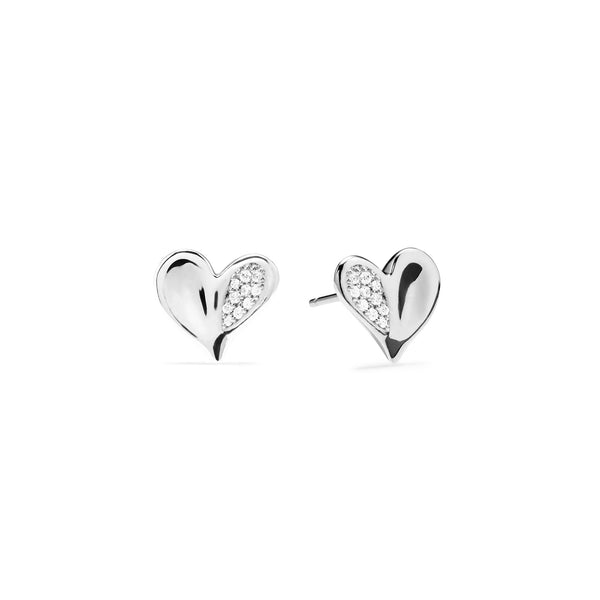 Eros Heart Stud Earrings with Diamonds