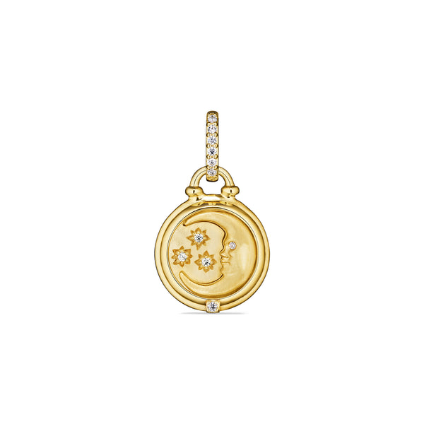 Little Luxuries Moon and Stars Medallion with Diamonds in 18K