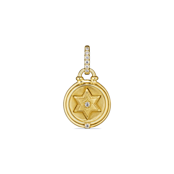 Little Luxuries Star of David Medallion with Diamonds in 18K