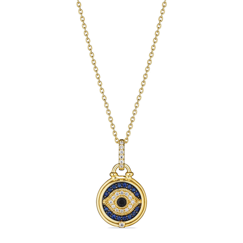 Little Luxuries Evil Eye Medallion Necklace with Black Sapphire, Blue Sapphire and Diamonds in 18K