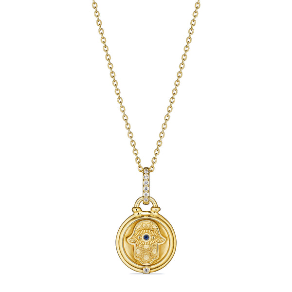 Little Luxuries Hamsa Medallion Necklace with Blue Sapphire and Diamonds in 18K
