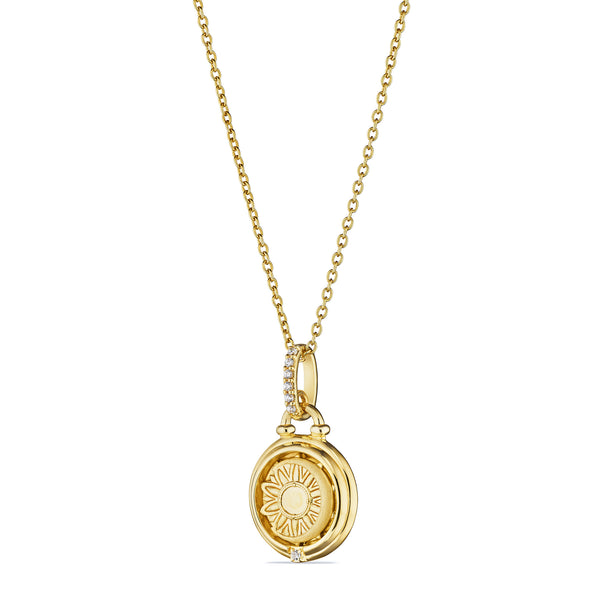 Little Luxuries Sun and Moon Medallion Necklace with Diamonds in 18K