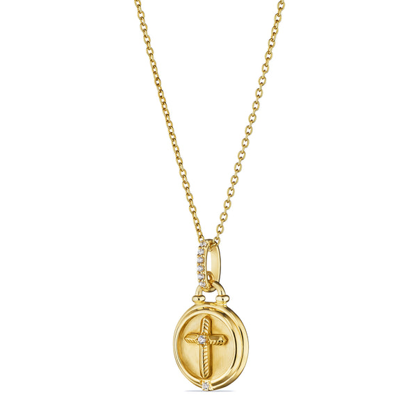 Little Luxuries Cross Medallion Necklace with Diamonds in 18K