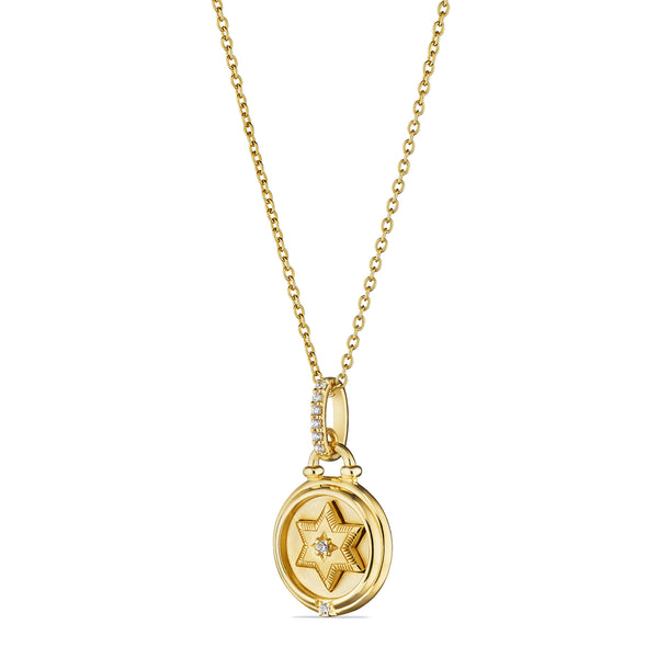 Little Luxuries Star of David Medallion Necklace with Diamonds in 18K