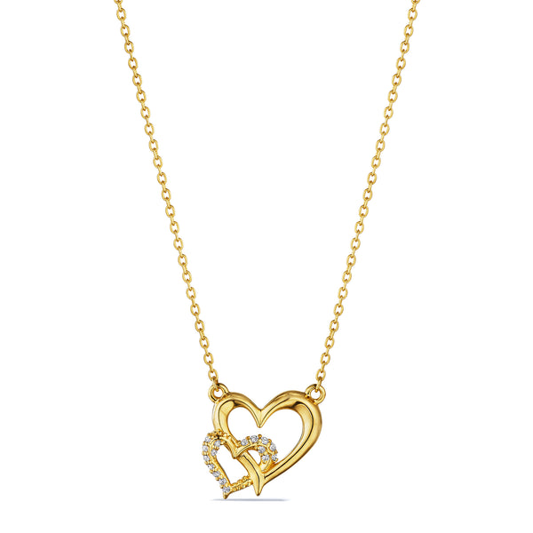 Eros Interlocking Open Heart Necklace with Diamonds in 18K