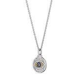 Little Luxuries Evil Eye Medallion Necklace with Black Sapphire, Blue Sapphire, Diamonds and 18K Gold