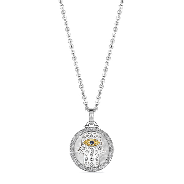 Little Luxuries Hamsa Medallion Necklace with Blue Sapphire, Diamonds and 18K Gold