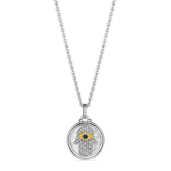 Little Luxuries Textured Hamsa Medallion Necklace with Blue Sapphire, Diamonds and 18K Gold