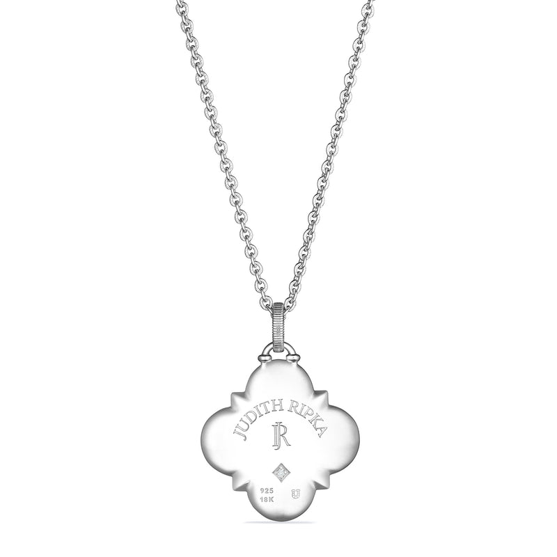 Little Luxuries Long Quatrefoil Hamsa Medallion Necklace with Blue Sapphire, Diamonds and 18K Gold