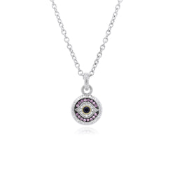 Little Luxuries Black Sapphire, Synthetic Pink Sapphire Evil Eye Pendant with Diamonds & 18K Gold Accents