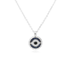 Little Luxuries Black Sapphire, Blue Sapphire & White Topaz Evil Eye Pendant