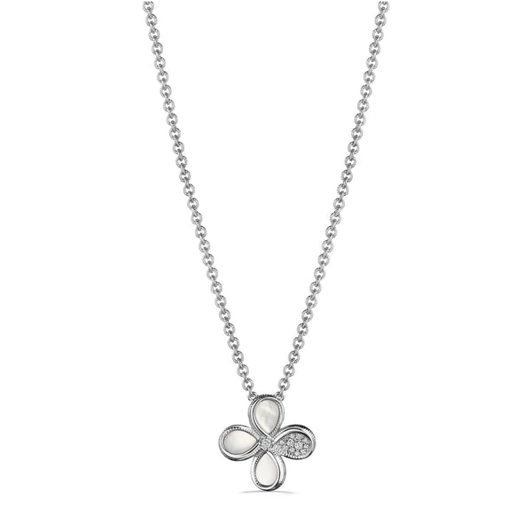 Jardin Flower Pendant Necklace with Mother of Pearl and Diamonds