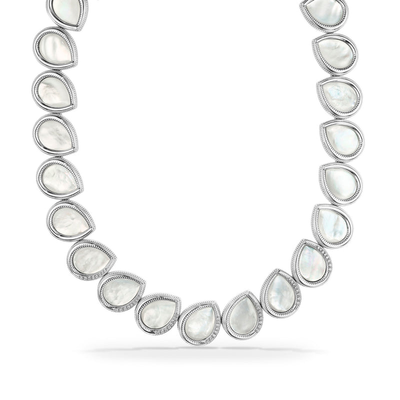 Jardin Petal Necklace with Mother of Pearl and Cultured Diamonds