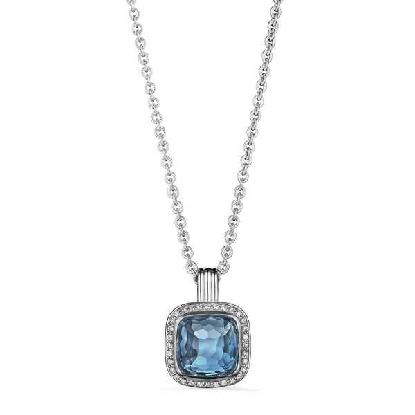 Cassandre Necklace with London Blue Topaz and Diamonds