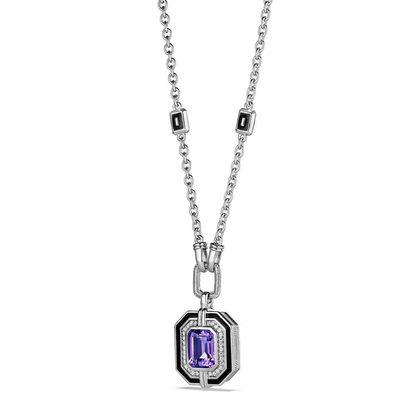 Adrienne Pendant Necklace with Enamel, Amethyst and Diamonds