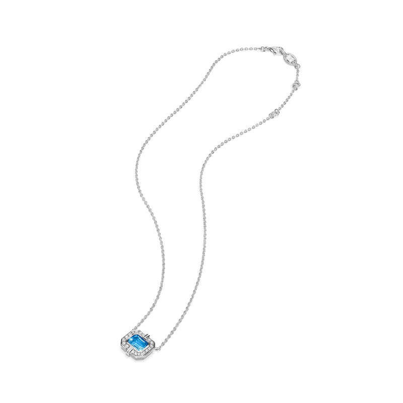 Adrienne Necklace with Swiss Blue Topaz and Diamonds