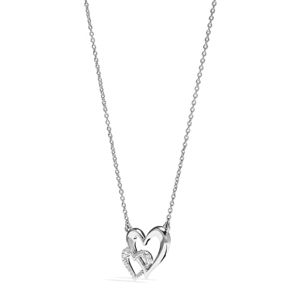 Eros Interlocking Open Heart Necklace with Diamonds