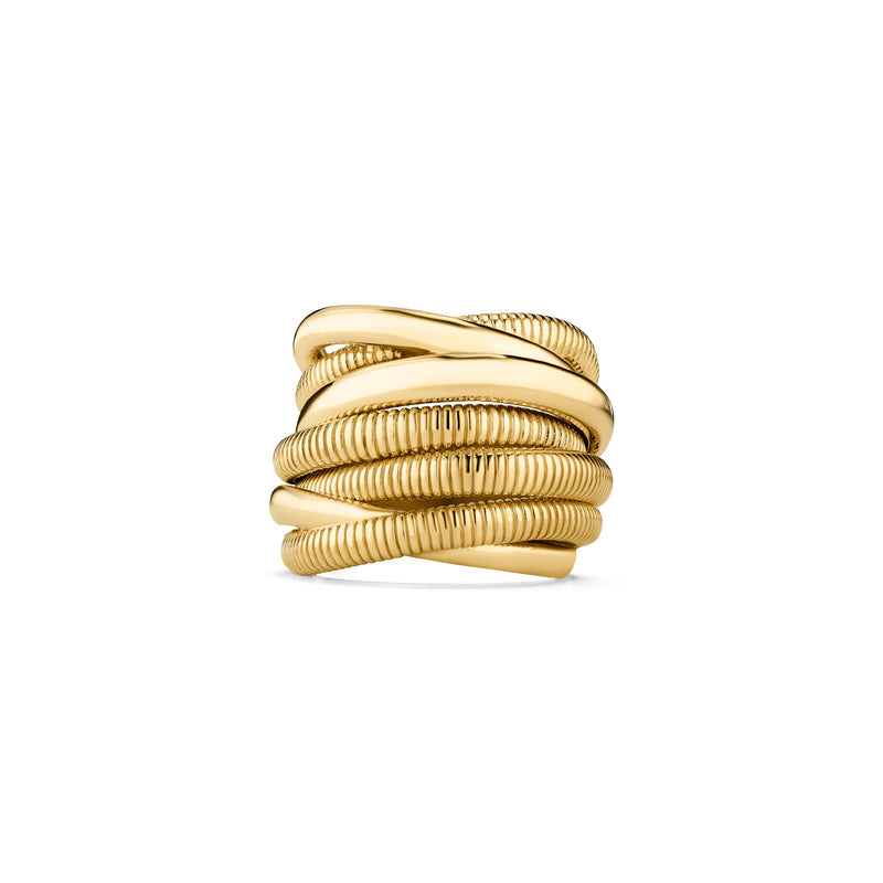 18K Eternity Seven Band Highway Ring