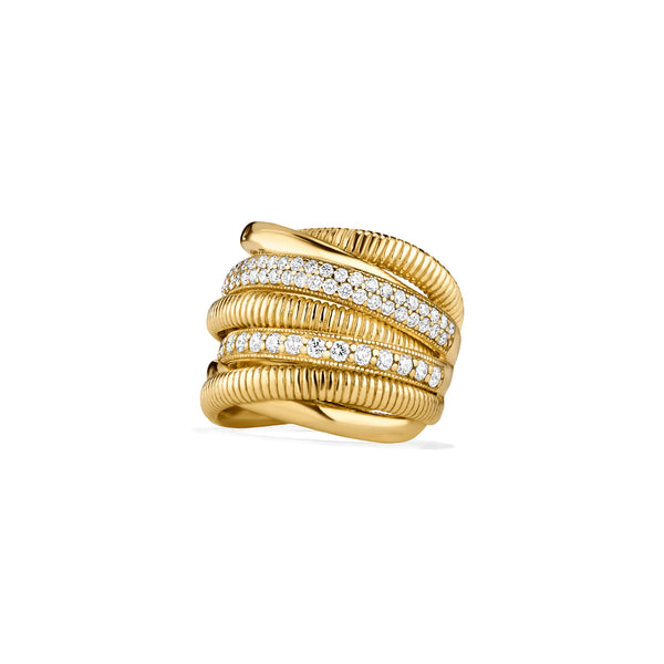 18K Eternity Seven Band Highway Ring with Diamonds
