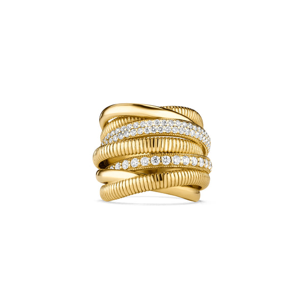 Eternity Seven Band Highway Ring with Diamonds in 18K