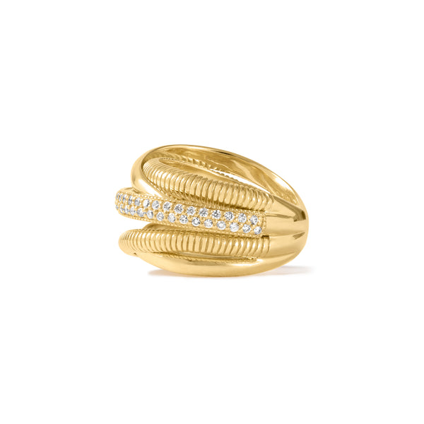 18K Eternity Five Band Highway Ring with Diamonds