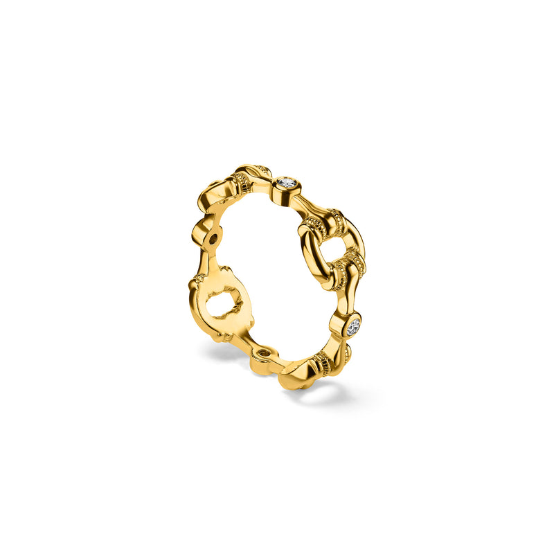 Vienna Stack Ring with Diamonds in 18K