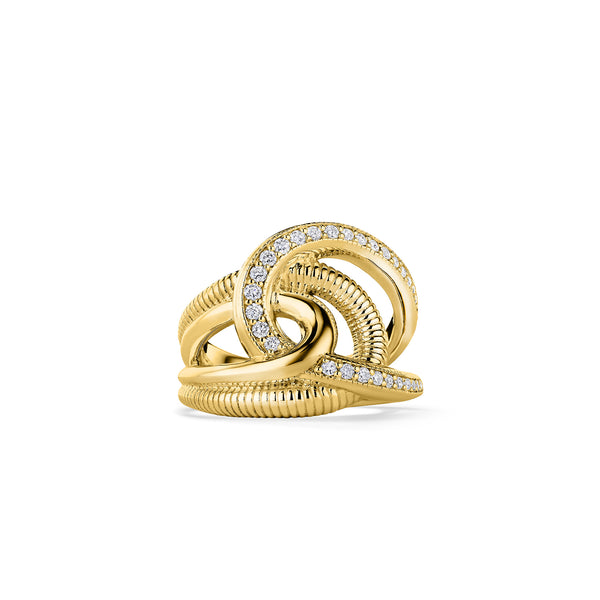 Eternity Intertwined Ring with Diamonds in 18K