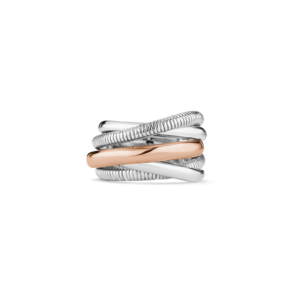 Eternity Five Band Highway Ring with 18K Rose Gold
