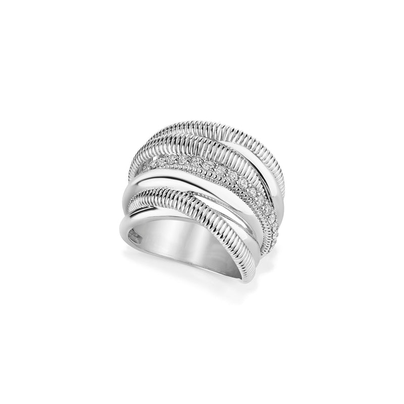 Eternity Seven Band Highway Ring with Cultured Diamonds
