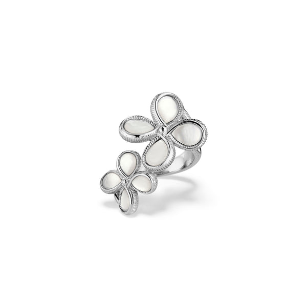 Jardin Double Flower Ring With Mother of Pearl