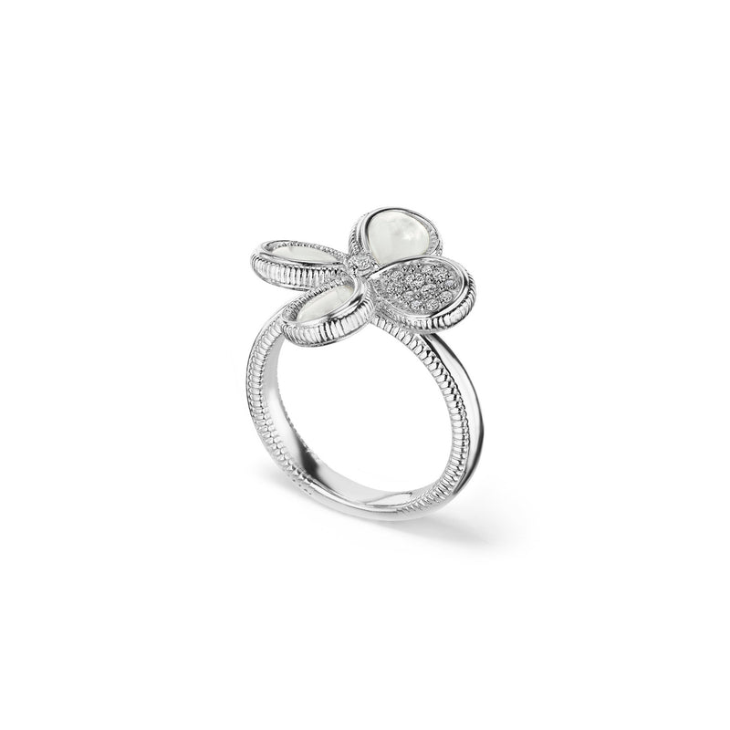 Jardin Flower Ring with Mother of Pearl and Cultured Diamonds