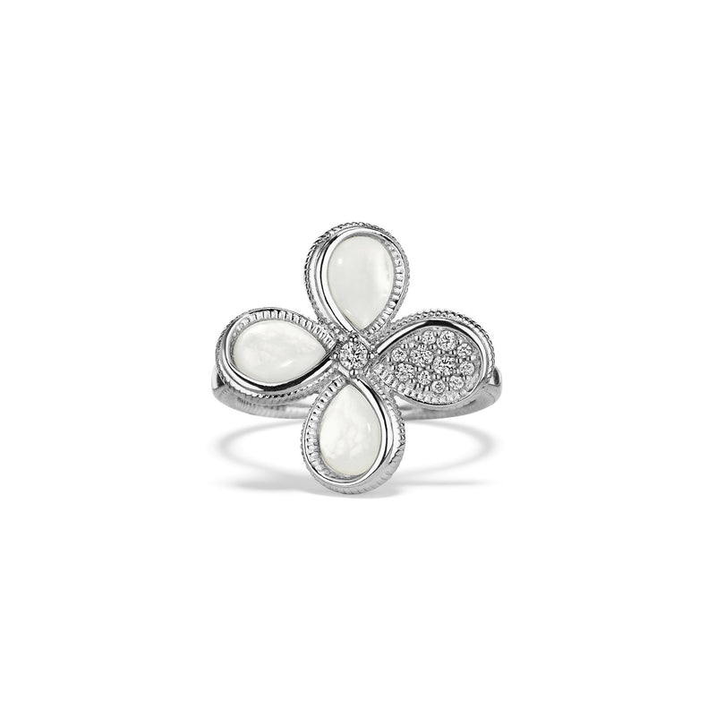 Jardin Flower Ring with Mother of Pearl and Diamonds