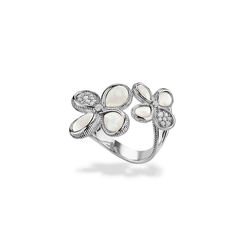 Jardin Double Flower Ring with Mother of Pearl and Cultured Diamonds