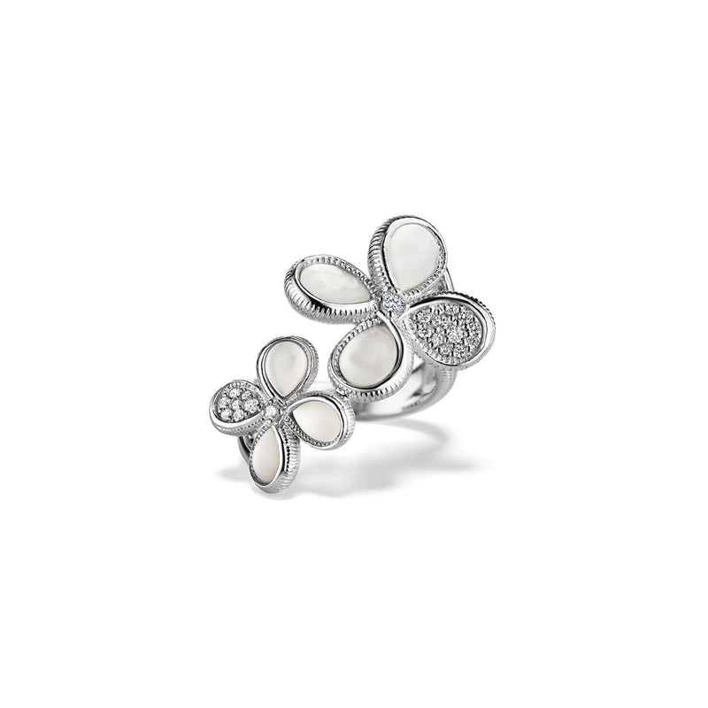 Jardin Double Flower Ring with Mother of Pearl and Diamonds