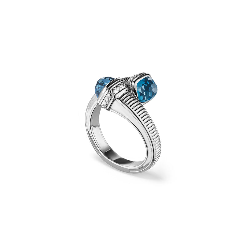 Cassandre Bypass Ring with London Blue Topaz
