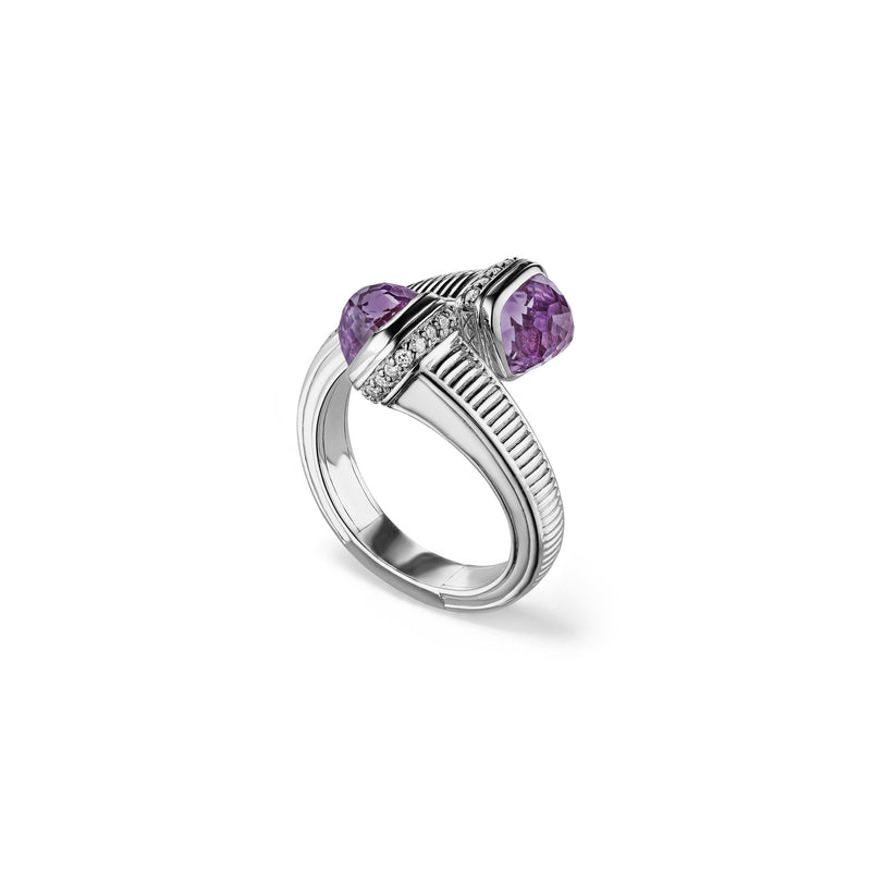 Cassandre Bypass Ring with Amethyst and Cultured Diamonds