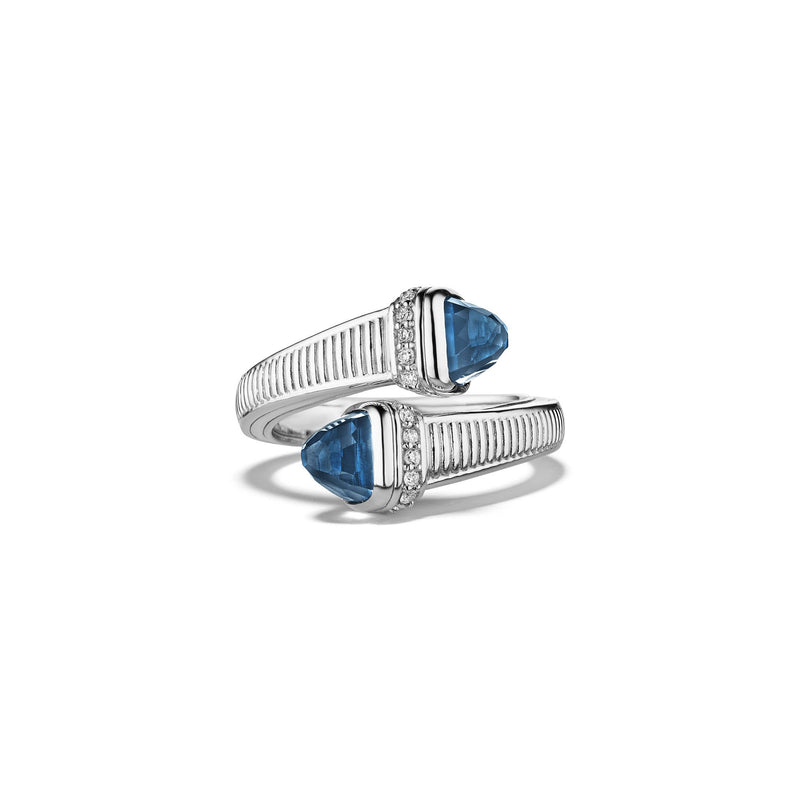 Cassandre Bypass Ring with London Blue Topaz and Diamonds