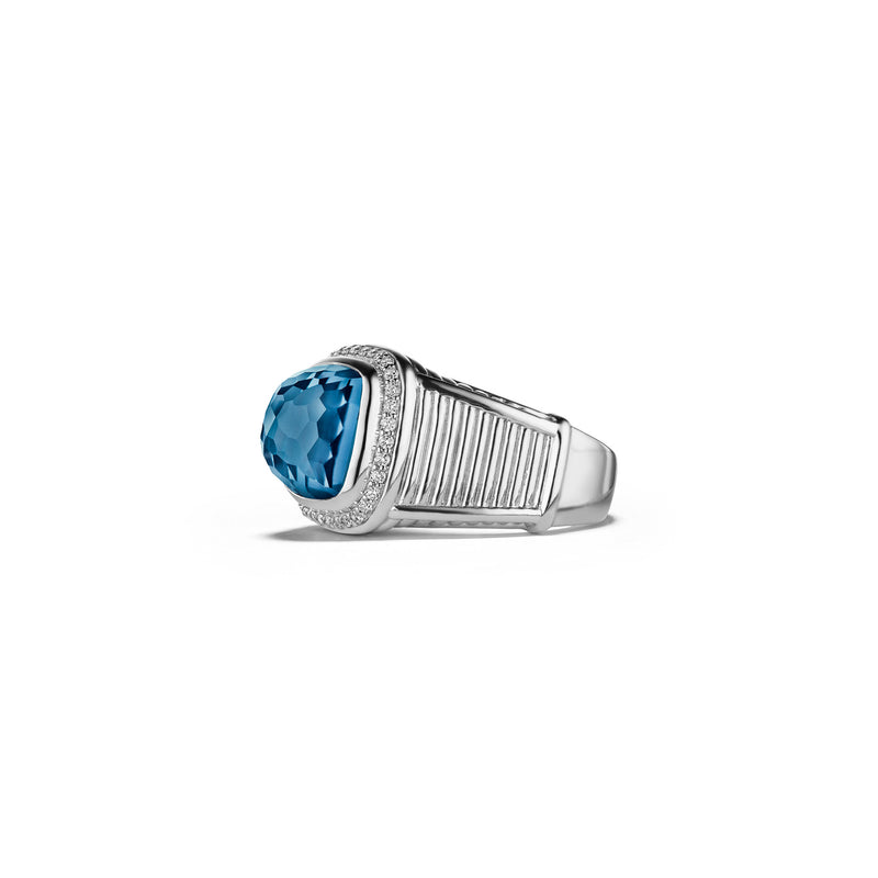 Cassandre Ring with London Blue Topaz and Cultured Diamonds