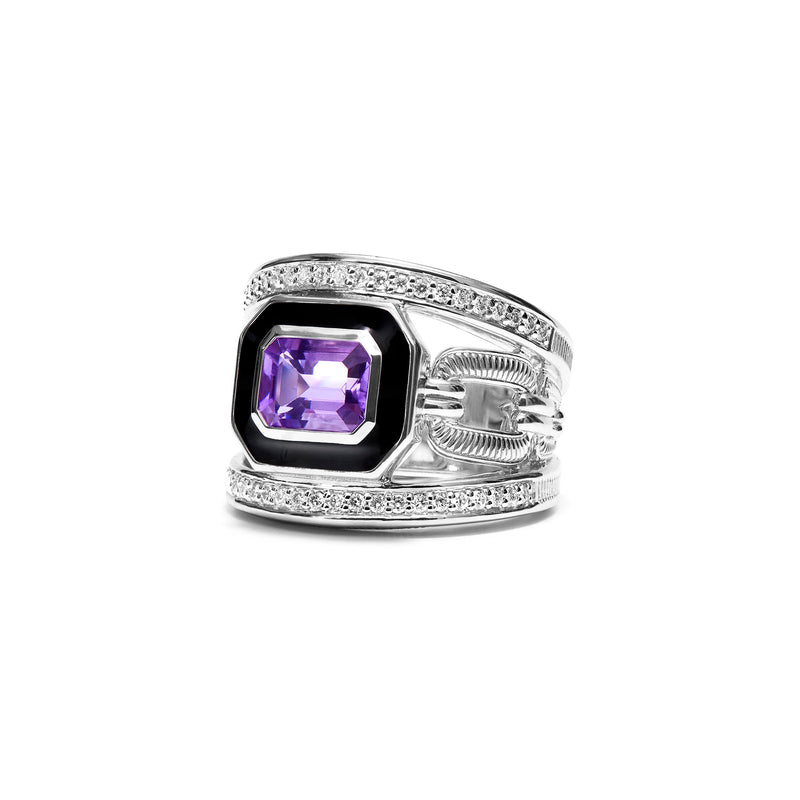 Adrienne Band Ring with Enamel, Amethyst and Diamonds