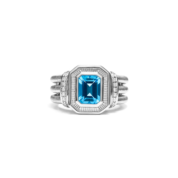 Adrienne Ring with Swiss Blue Topaz and Diamonds
