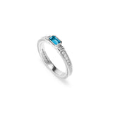 Adrienne Stack Ring with Swiss Blue Topaz and Diamonds
