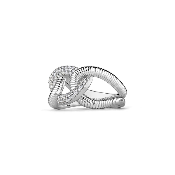 Eternity Interlocking Link Ring with Diamonds