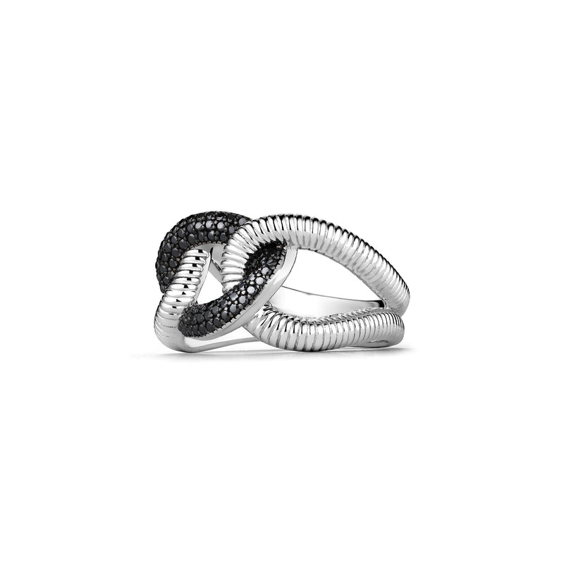 Eternity Interlocking Link Ring with Black Spinel