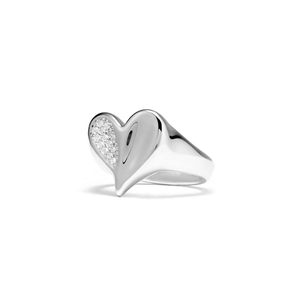 Eros Heart Signet Ring with Diamonds