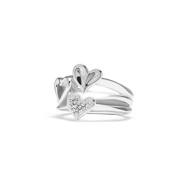 Eros Triple Heart Ring with Diamonds